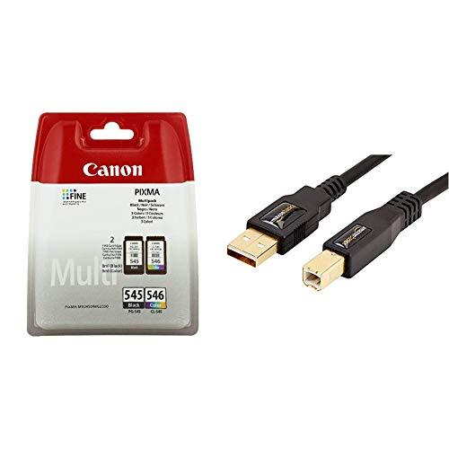 Canon 8287B006 Tintenpatronen (Multipack 8ml/9ml) schwarz/mehrfarbig & AmazonBasics USB 2.0-Druckerkabel A-Stecker auf B-Stecker, 3 m