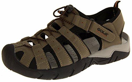Gola AMP209 Uomo Taupe, Nero Regolabili In Velcro Sportive Sandali Escursionismo EU 41