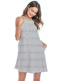 Vestidos de Mujer, ASHOP Vestido Verano 2018 Sin Mangas Casual Ajustados T-Shirt Vestido Coctel Fiesta Corto Dress A Rayas Playa…