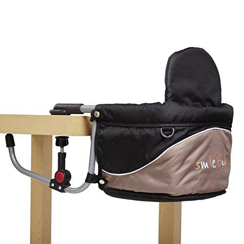 Smilebaby Babysitz Tischsitz faltbar für zu Hause und unterwegs in Schwarz Braun