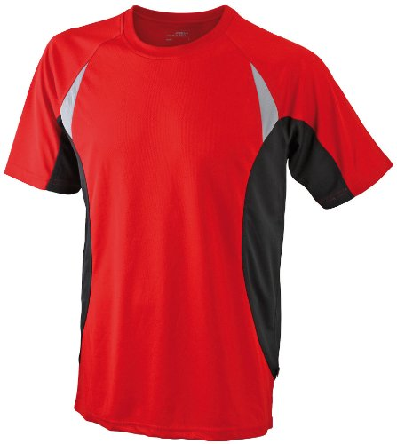 Xx Large Red T-shirt (James & Nicholson Herren kurze Ärmel T-Shirt Running T rot (red/black) XX-Large)