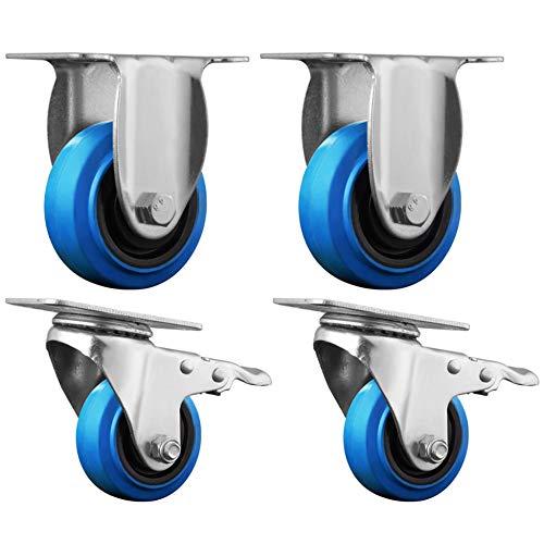 KSJL Möbelrollen,Elastischer Gummi Bremse Lenkrollen Für Möbel,Geeignet Für Karren Transport Maschinen Und Geräte,3In / 4In Last 100Kg Standhalten Stromspannung/B / 3in