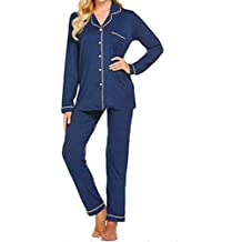 AIni Pijamas De Mujer Pijamas De Traje De Damas Pantalon Manga Larga Servicio A Domicilio De