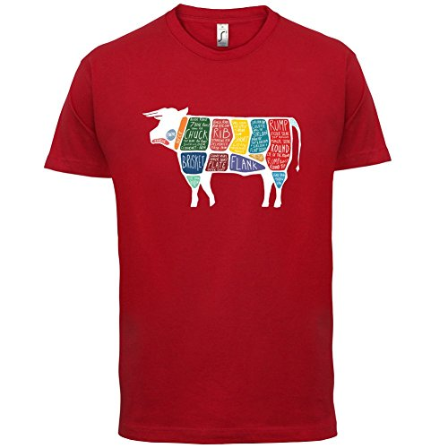 Butcher Cow Diagram - Herren T-Shirt - 13 Farben Rot