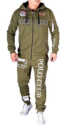 Herren Jogging-Anzug Polo Club Design, (L-Slim, Khaki Neu)