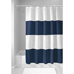 mDesign Cortina de Ducha con Estampado en Bandas horizontales – Accesorio de baño con Medidas de 183 cm x 183 cm – Cortinas de baño Durabilidad – Color: Azul Marino/Blanco