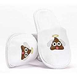 Poop Emoji Angel Wings Pantuflas como Regalo Original para Despedidas de Soltera Bodas Cumpleaños o Viajar de Talla Única