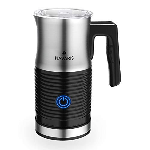 Navaris Edelstahl Milchaufschäumer elektrisch 500W - 3 Modi für Heißschaum Kaltschaum oder Warmmilch - Automatischer Milchschäumer Aufschäumer