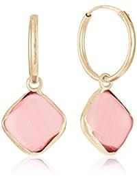 Córdoba Jewels | Pendientes en plata de Ley 925 bañada en oro rosa. Diseño Square Rosa de Francia