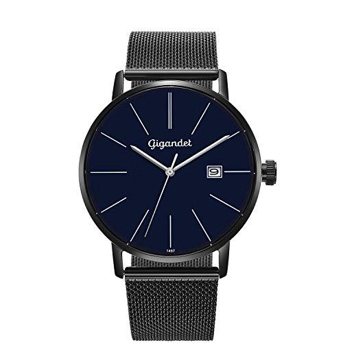Gigandet Montre Homme Quartz Minimalism Analogique Bracelet Acier Milanaise Noir Bleu G42-015