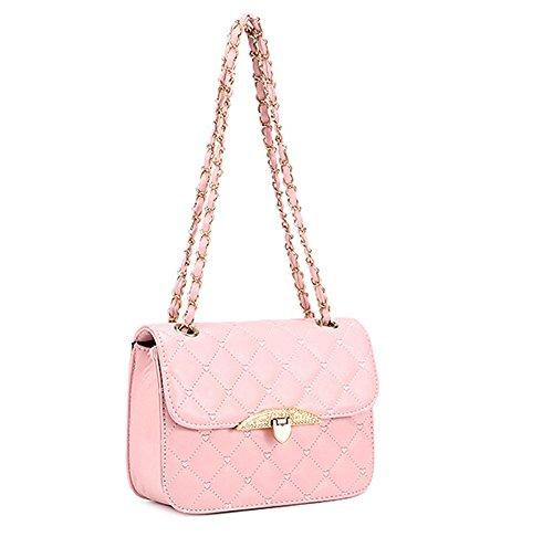 KISS GOLD Damen Umhängetasche Shopper mit Metalketten, 26x18x8cm Pink