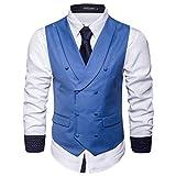 STTLZMC Gilet Uomo Elegante Slim Fit Senza Maniche Scollo a V Panciotto Smanicato Corpetto Matrimonio(Niente Camicia),blu 1,large