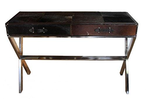 Braun Sekretär Schreibtisch (Casa Padrino Luxus Schreibtisch Kuhfell in Schwarz / Braun mit 2 Schubladen - 121 x 41 x H 81 cm - Luxus Konsolentisch)