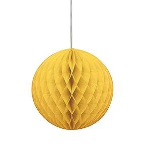 Unique Party- Bola de papel de seda en forma de panal, Color amarillo, 20 cm (64251)