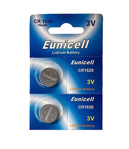 Eunicell - Cellule bouton CR1620 / pile 3V / paquet de 2