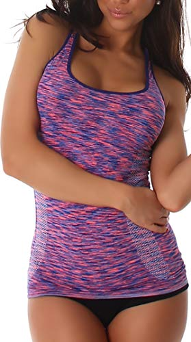 Jela London Damen Fitness-Top Träger Stretch eng figurbetont Tanktop Jogging Sportswear (DE 32 34 36) Blau Apricot-Orange