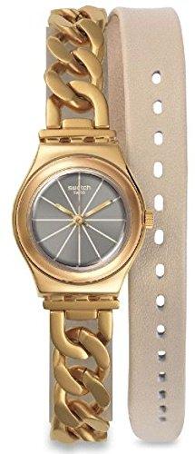 Swatch Damen Analog Quarz Uhr mit Verschiedene Materialien Armband YSG139