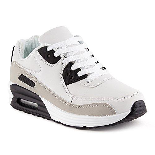 FiveSix Herren Damen Sportschuhe Dämpfung Sneaker Laufschuhe Schwarz/Grau/Weiss-W EU 38 (Grau Jordans Schwarz Air Und)