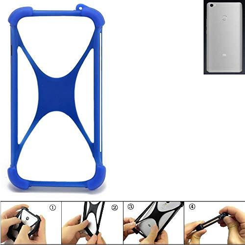 K-S-Trade Bumper für Xiaomi Mi Max Prime Silikon Schutz Hülle Handyhülle Silikoncase Softcase Cover Case Stoßschutz, blau (1x)
