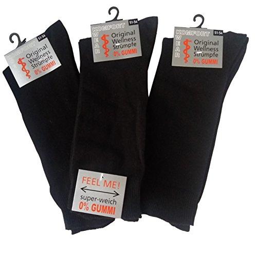 Socken ohne Gummi Herren | 6 Paar | XXL | Größe 39-58 | Socken ohne Bund | für Diabetiker geeignet | extra breiter Komfortbund | Übergrößen (51-54, schwarz)