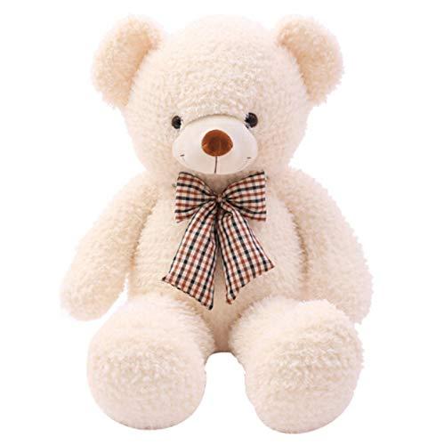NOWPST Cartoon Plüsch Stofftiere Kreative Cute Teddy Bear Geschenke für Kinder Jungen Mädchen Startseite Schlafzimmer Kissen Beige Puppen Höhe 100cm - Beige Crock