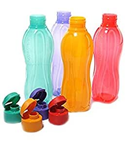 Tupperware Aquasafe Plastic Flip Top Bottle Set, 1 Litre, Set of 4, Multicolour
