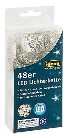 Idena 30437 - LED Lichterkette für innen und außen, mit Timer, batteriebetrieben, 48er warm, weiß