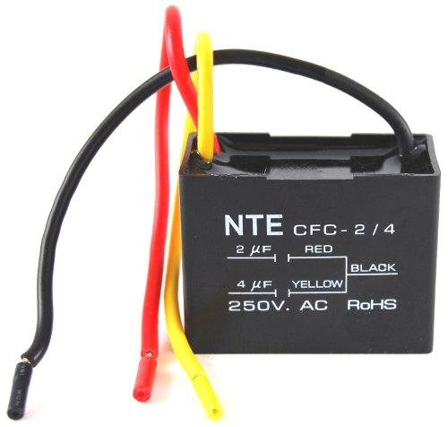 NTE Electronics cfc-2/4Serie CFC Polyester Deckenventilator Kondensator, 3Draht, 125/250VAC, 2.0/4.0μf Kapazität Nte Electronics