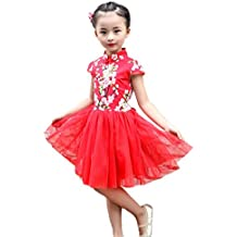 Kleid Chinesisches Kleid Cheongsam Kostüm Damen Geisha Dress Mini-Kleid Fancy