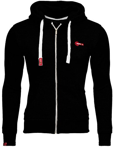 Merish Sweatjacke Herren Sportjacke Freizeitjacke Hoodie Pullover Modell 226 Schwarz-Weiß