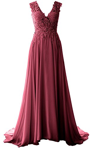 MACloth Elegant V Neck Long Prom Dress Vintage Lace Chiffon Formal Evening Gown (34, Weinrot)