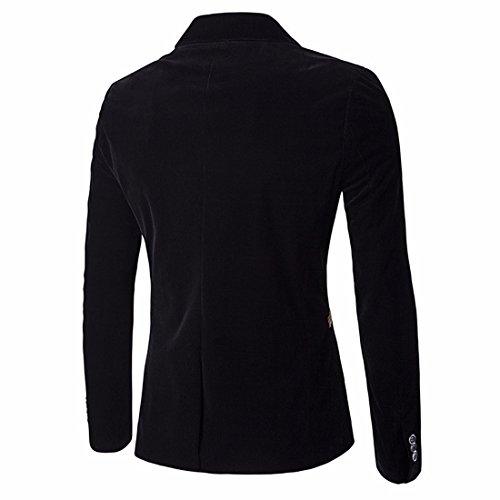QIYUN.Z Uomini Dimagriscono Il Tasto Vestito Lavoro Occasionale Cappotto Del Rivestimento Della Giacca Sportiva Nero / 76