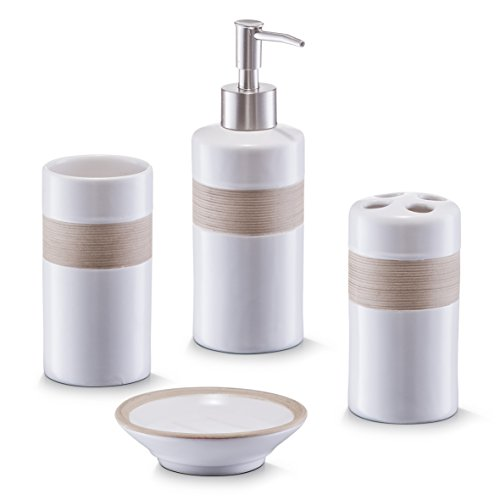 Zeller 18260 Bad-Access.-Set, 4-tlg, beige/braun, Keramik