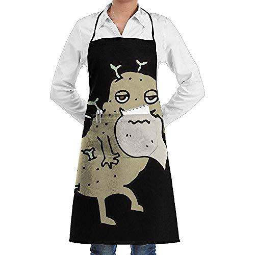 Kostüm Weihnachts Wirt - UQ Galaxy Küche Schürzen,Cartoon alte Kartoffel Schürze Lace Unisex Chef verstellbare Lange volle Schwarze Küche Schürzen Lätzchen mit Taschen zum Backen basteln BBQ