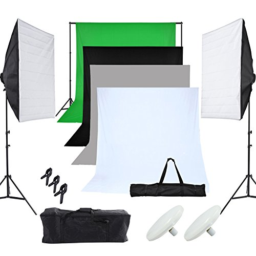 Grandekor Fotostudio Set Softbox Dauerlciht Studioleuchte Studiosets mit 50 * 70cm Softbox 2 er Set LED Fotolampe*2 2 * 2m Hintergrundsystem 4 Hintergrundstoffen 1.6x3M 2 Tragtasche