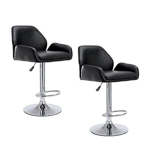 Cherry Tree Furniture SET OF 2 X Black Faux Leather Chrome Base Height Adjustable Swivel Barstool Kitchen Stool with Medium Back & Armrests MB-207