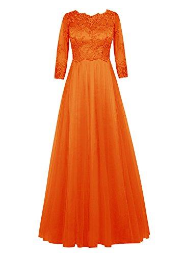 Dresstells, robe longue de mère de mariée, robe de soirée formelle manches 3/4, robe de demoiselle d'honneur Orange