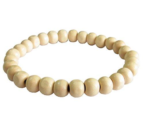 artisanat-asiatique-bracelet-mala-bouddhiste-fait-main-perles-en-bois-blanc-elastique-thailande