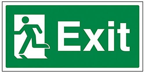 vsafety 21010Becher ay-r Sicherer Zustand Exit Schild, Final Exit Man links, Landschaft, 1mm starrer Kunststoff, 300mm x 150mm, grün