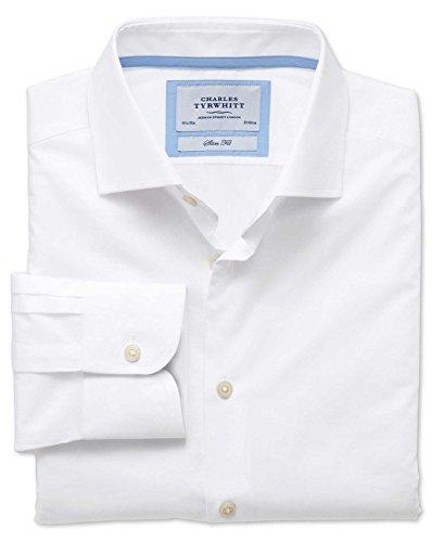 Extra Slim Fit Business-Casual Hemd mit Semi-Haifischkragen in weiß weiß (Knopfmanschetten Cuff)