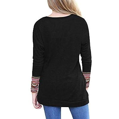 VECDY Frauen Pullover,Damen Langarm Lose Knopfleiste Bluse Einfarbig Rundhals Tunika T-Shirt Lässiges Tops Lässiger Pullover Mode Pullover Sweatshirt Bluse Einfarbig Oberteile Sport-Pullover