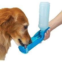 Anself Botella de perro de mascota de gato para beber agua Biberón portable dispensador cuando en paseo 500ml Azul