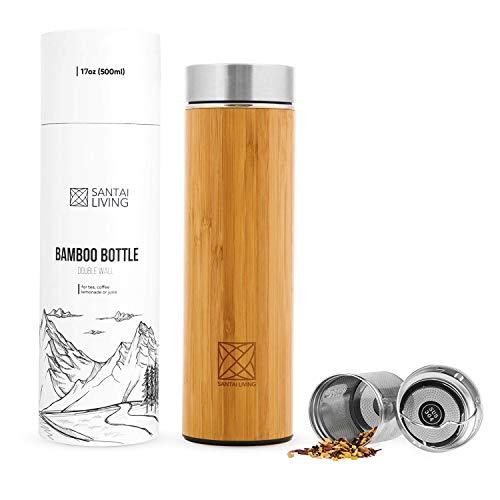 Santai Living Termo de Bambú Hermético (500 mL) | Botella de viaje Isotermo con Doble Cámara Aislante con Infusor para Té, Café o Fruta | Vaso Térmico de madera y aluminio, libre de BPA