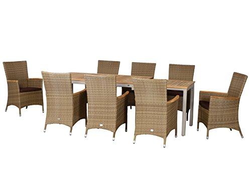 17-teilige Luxus Aluminium Teak Polyrattan Geflecht Gartenmöbelgruppe 'Austin' , 8 Diningsessel, 8 Auflage und ein Ausziehtisch Tifosi 160/280x90, champagner - sand