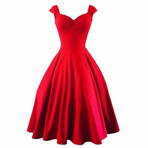 Europa Retro Damen Large Hem Boot Ausschnitt Taille Bouffant Princess Dress Rot