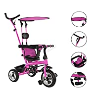 FOXHUNTER Baby Kids 4in1 Tricycle Ride on Bike Push Along Trike Buggy Stroller Adjustable Seat 3 Wheels Removable Canopy FH-KT01 Pink