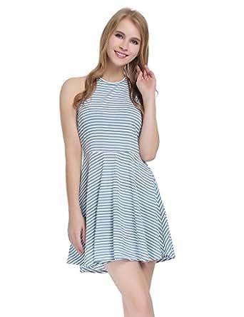 JXStar Damen Neckholder im unteren Rücken ärmellos Gestreift Beiläufig Kleid Blau M