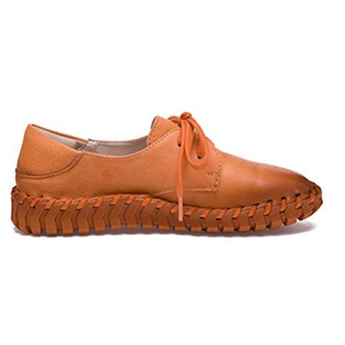 Vogstyle Femme Main Véritable Suture de Voiture en Cuir Chaussures Plates Style-1 Juane