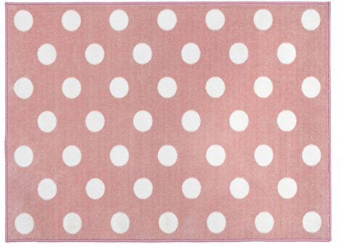 Kit for Kids – Alfombra (color rosa y blanco, diseño de lunares)
