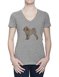 Perro Del Caniche V Cuello Camiseta Para Mujer Gris Todos Los Tamaños | Women's Grey V Neck T-Shirt Top All Sizes